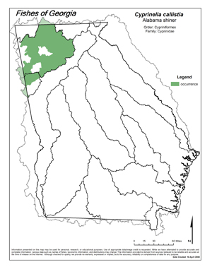 Alabama shiner Region Map