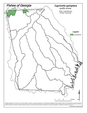 spotfin shiner Region Map