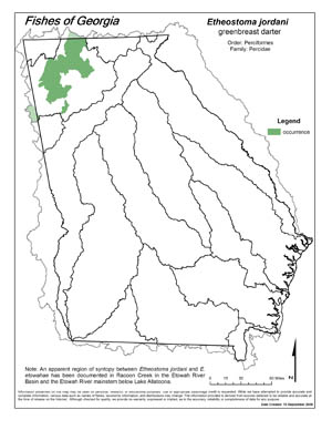 greenbreast darter Region Map