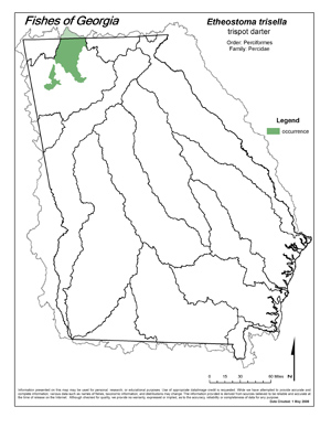 trispot darter Region Map