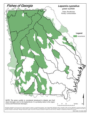 green sunfish Region Map