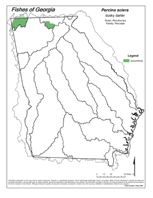 dusky darter Region Map